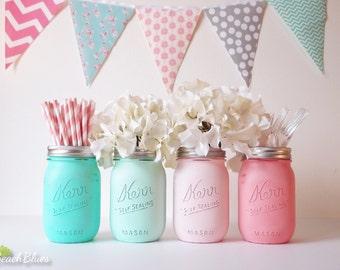 Baby Shower Centerpiece Painted Mason Jars Decoration Home Decor Vase Neutral Boy Girl Aqua Mint Pink