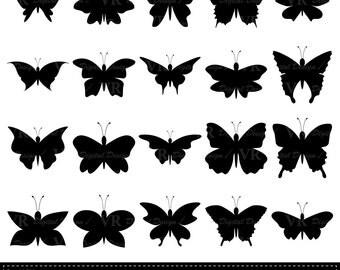 Butterfly Silhouette Clip Art, Butterfly Clipart, Black Silhouettes Clipart, Butterflies Clipart, Digital Download Vector Clip Art