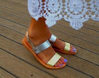 Metallic Leather Flat Sandals ''Alcestis'', Silver & Gold Sandals , Greek Slingback Sandals, Luxury Double Strap Shoes