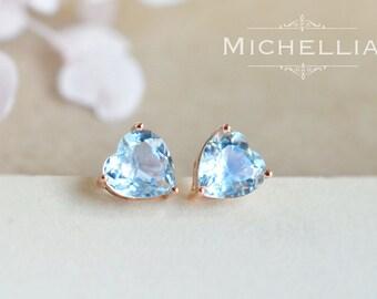 14K/18K Gold Aquamarine Heart Earrings, Natural Aquamarine Ear Studs, Ear Post, Post Earrings, March Birthday Gift, Heart of the Sea