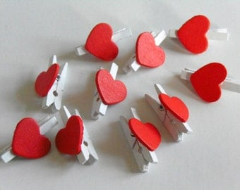 10 Mini Wooden Red Love Heart Pegs #EO1