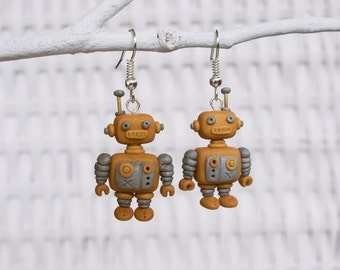 Robot Earrings, Steampunk Robot Earrings, Polymer Clay Robot Earrings, Science and Technology Earrings, Cog Earrings, Machinery Earrings