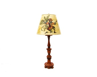 Mexican Red Plaster Candlestick Lamp with Chinoiserie Decoupage Lampshade