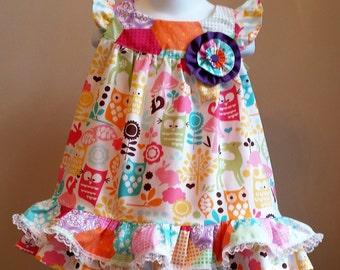 Boutique Custom made Woodland Creatures Ruffled Sundress, Party Dress, Birthday Dress