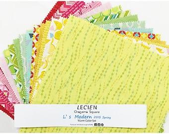 "L's Modern 50's Geometric Warm Color layer cake fabric Pack - Lecien Japan 10"" x 10"" Origami Squares SP2015  set - 42 pieces"