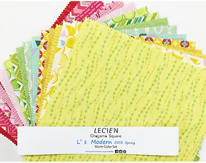 "L's Modern 50's Geometric Warm Color layer cake fabric Pack - Lecien Japan 10"" x 10"" Origami Squares SP2015  set - 42 pieces"