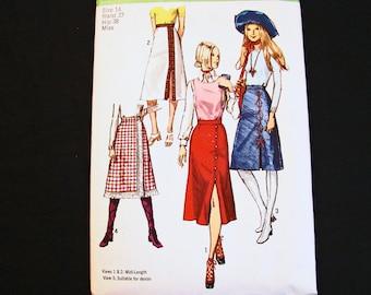 1970s Midi Skirt Pattern size 14 UNCUT Vintage Simplicity Pattern 70s