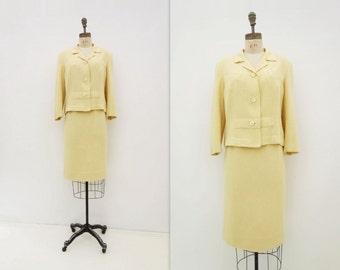 1960s Wool Suit Vintage Skirt Suit Yellow Summer Suit 60s Wool Boucle Suit Size L Boxy Jacket 60s Pencil Skirt Mad Men Office Suit Size M, L