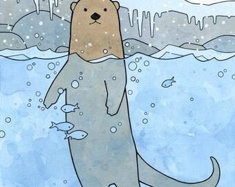 Otter Art Print, watercolor illustration, 8x10 wild animal art print