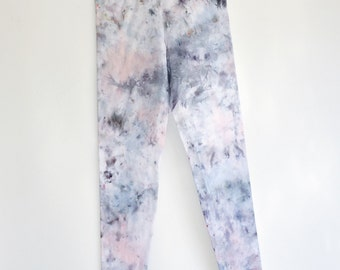 Hand Dyed Gray and Pink Quartz Crystal Leggings