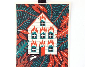 HOUSE FIRE - Screen Print