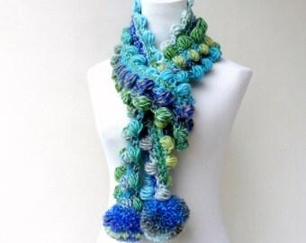 Blue Scarf Pompom Scarf Crochet Green Scarf Multicolor Unique Scarf colorful Winter Scarf