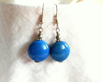 Blue Earrings Coin Earrings Medallion Earrings Lightweight Earrings Beaded Earrings Surgical Steel Earrings French Hooks