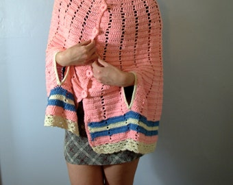 Vintage 60's short pink cape, knit cape, cotton candy pink, pink shawl