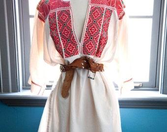 Vintage oversized Mexican Blouson Mini Tent Dress / Gypsy Boho Peasant Dress