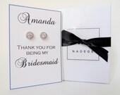 Bridesmaid Stud Earrings/Silver Bridesmaid Earrings/Bridesmaid Earring Gift/Bridesmaid Jewelry/Bridal Party Earrings/Wedding Party Earrings
