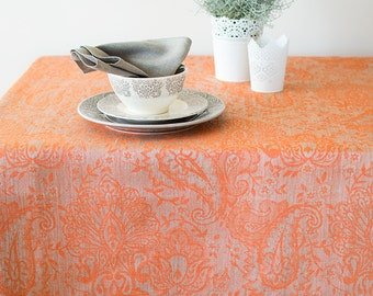 Wide Linen Tablecloth, Natural With Salmon Tablecloth, Orange Tablecloth With Borders, Damask Tablecloth, Special Occasion Tablecloth