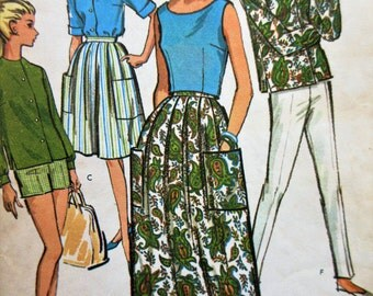 Vintage McCall's 7178 Sewing Pattern, 1960s Separates, Skirt Pattern, Sleeveless Top, Shorts Pattern Slim Pants Pattern, Bust 32, 60s Sewing