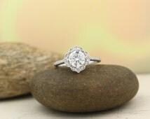 Moissanite Engagement Ring Set  Diamond Wedding Set Vintage Floral Ring Set In 14k White Gold , Rose Gold,Yellow Gold  7mm Round Gem1224