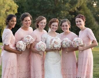 wedding Bouquet set Fabric rustic Bridal Bouquet bridesmaids bouquets