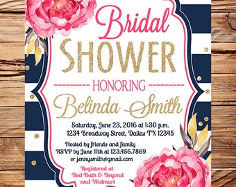 Watercolor flowers Bridal Shower Invitation, navy stripes, gold, glitter confetti, pink navy wedding, peonies bridal shower invitation, 5350
