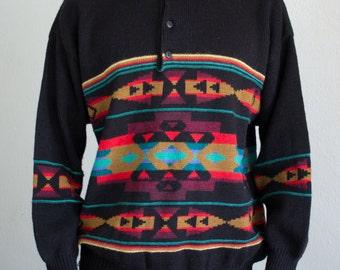 knit southwest sweater - M