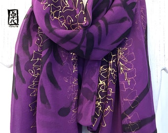 Silk Scarf Handpainted, Gift for her, Gift Wrapped, Gold and Purple Scarf, Wisteria Scarf, Japanese Scarf, Winter Scarf, 22x56 inches.