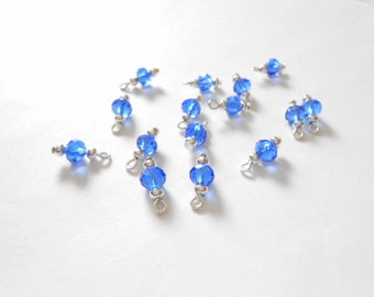 Blue Faceted Rondelle  Dangle Beads