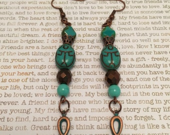 Egyptian Ankh and Scarab Earrings - Made With Czech Crystals In Turquoise with Patina Copper Ankh and Czech Scarab
