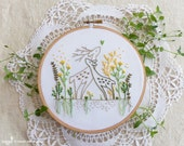 Inspirational gift, Modern hand embroidery, Inspirational artwork - Love Story -  Green embroidery, dear embroidery,  Wall Décor