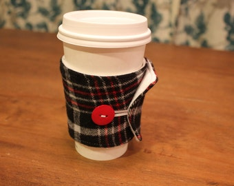 Handmade Flannel Coffee Cozy, Plaid Coffee Cozie, Fabric, Red, Black and Light Grey, Iced Coffee, Travel Coffee Sleeve, Cotton, Gift