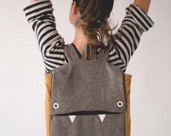 Gray Laptop Backpack, Grey Backpack, Vegan Backpack, Gray Laptop Bag, Monster Backpack, School backpack, College Backpack, Back to School
