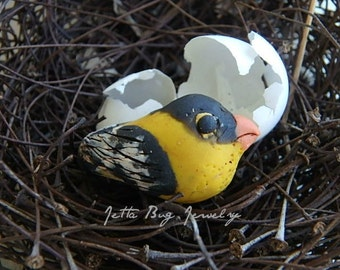 Gold Finch bird- polymer clay bird bead. yellow gold bird bead. black. white. rustic realistic. ooak. woodland bird bead. Jettabugjewelry