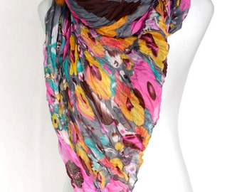 Poppie Flowers & Stripes crinkle Scarf Shawl Gift Ideas For Her Women Fashion Accessories Geometric wrinkle chunky boho summer scarves schal