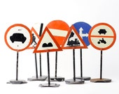Reserved for Mel 2 Vintage Road Sign - School Teaching Sign - Miniature Highway Traffic Signs