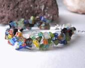 Millefiori Mixed Glass Bracelet - Glass Bracelet, Chip Bracelet, Millefiori Bracelet, Wide Weave Bracelet, Glass Bead Bracelet, Woven