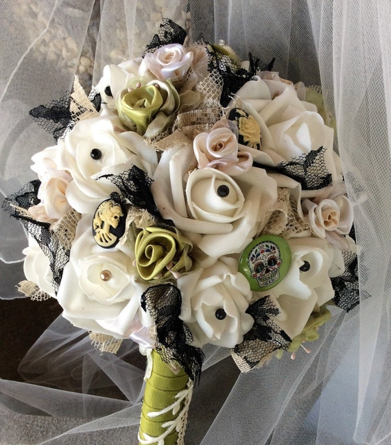 Victorian Gothic Skull Wedding Flower Bouquet Skull Flowers Ivory
