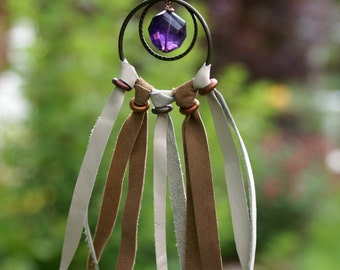 Faceted Amethyst Dreamcatcher Necklace leather suede bohemian boho chic brass chain hippie gypsy concert festival spiritual jewelry