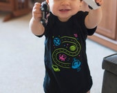 6 Month Baby Bodysuit, Space Shirt, Baby Girl Clothes, New Baby Gift, Car Play Mat Shirt, Outer Space, Unique Baby Gift