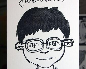 Silkscreen Art Print // Handmade // Unique Illustration // 'Fabulous Boy #1'