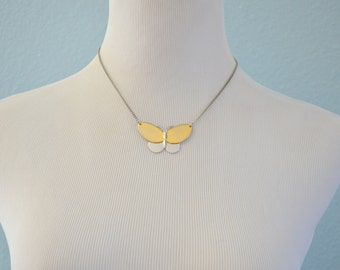 Vintage 70s Avon Butterfly necklace pendant charm 1977 two tone mixed metal silver gold tone large chocker high polished