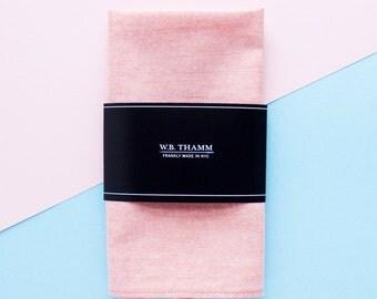 Beau Men's pocket square handkerchief - Solid chambray orange