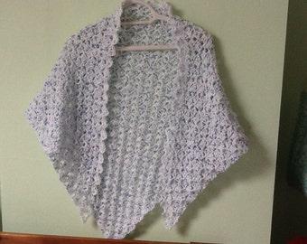 Light White Shawl, Light White Wrap, Triangle Shawl, Triangle Wrap, Crocheted Shawl, Crocheted Wrap, Light Yarn Wrap, Light Yarn Shawl