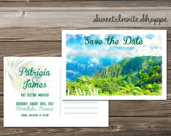 Hawaii Save The Date Card, Destination Save The Date Postcard, Travel Postcard Wedding Save The Date, Watercolor Save The Date, Digital File