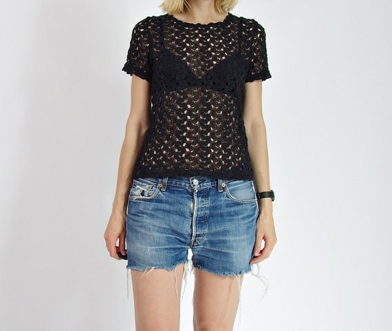 SALE - 80s Colours of the World Sexy See-Through Women Lace Top / Size S/M