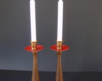 Mid Century Wood & Brass Candlesticks/ Pair of Danish Modern Candle Holders/ Wood Turned Candlesticks/ Red Metal/Mid Century MCM Boho