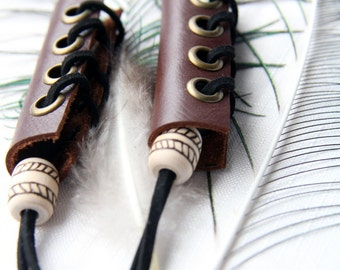 ponytail holder, Real leather Ponytail holder, Hair Wraps, hair Corset, Natural wooden beads, hair accessories, Nordic