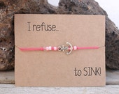 Pink beaded bracelet, jewelry with anchor, fashion bracelets, friendship gift, I refuse to sink card