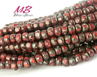 4x3mm 50 pcs Red Picasso Csech Beads, Tiny Bead