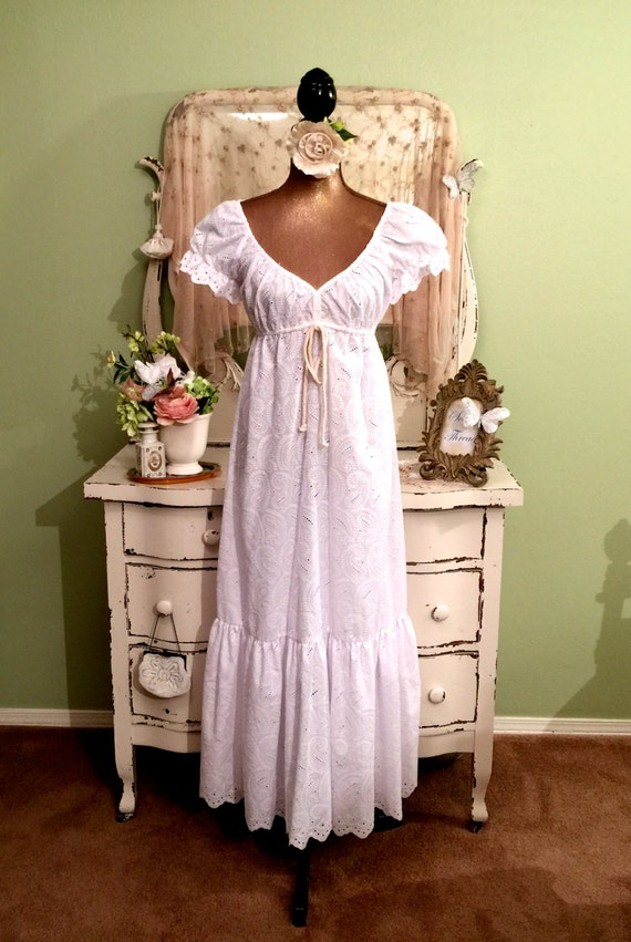White boho wedding dress long hippie cotton eyelet dress for White hippie wedding dress